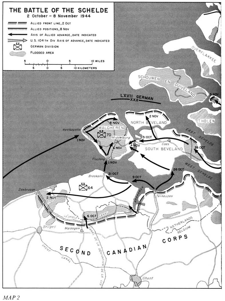 Battle of the Scheldt Oct. 2 Nov. 8 1944 map